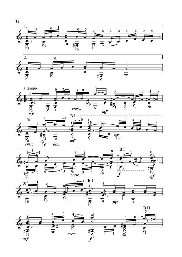 """Ноты переложения для классической гитары арии из сюиты № 3 """" Воздух """" композитора Иоганна Себастьяна Баха. страница № 2."""