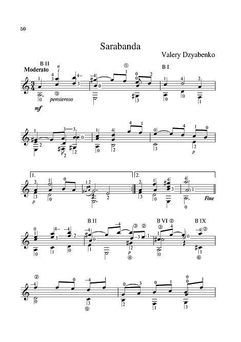 Sheet music. Composer V. Dzyabenko. Sarabande for classical guitar. Page 50.Noten. Komponist V. Dzyabenko. Sarabande für klassische Gitarre. Seite 50.Partituras, compositor V. Dzyabenko, Sarabande para guitarra clássica. P. 50.Spartito, compositore V. Dzyabenko, Sarabande per chitarra classica. Pagina 50.Partition Compositeur V. Dzyabenko Sarabande pour guitare classique. Page 50.Noter, kompositör V. Dzyabenko, Sarabande för klassisk gitarr. Sida 50.Noty, skladatel V. Dzyabenko, Sarabande pro klasickou kytaru. Strana 50.Bladmuziek Componist V. Dzyabenko Sarabande voor klassieke gitaar. Blz.50.Bileog cheoil. Cumadóir V. Dzyabenko. Sarabande don ghiotár clasaiceach. Leathanach 50.Ноти. Композиторът В. Дзябенко. Сарабанде за класическа китара. Страница 50.Μουσική σεντόνι. Συνθέτης V. Dzyabenko. Sarabande για κλασική κιθάρα. Σελίδα 50.Notalar, besteci V. Dzyabenko, klasik gitar için Sarabande. Sayfa 50.翻訳:作曲家V. Dzyabenko。クラシックギターのためのサラバンド。 50ページ