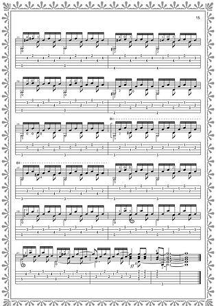 Fortsetzung von Noten und Tabulatur für Gitarrenetüde Nr. 3. Seite 15. Komponist Valery Dzyabenko.