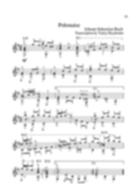 Arrangement score for polonaise guitar in E minor from the suite by I.S.Bach. page 45