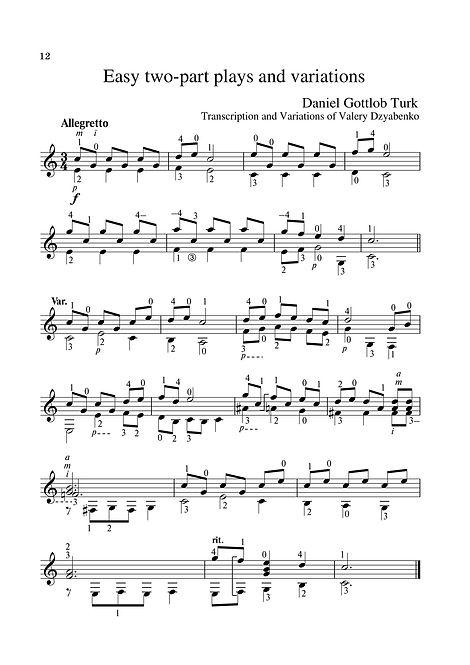 Sheetmusic.Composer D.G. Turk.Easy polyphonic piece for guitar and variation. page 12.Noten. Einfaches polyphones Stück für Gitarre und Variation. Seite 12.Partitura. Peça polifônica fácil para guitarra e variação. página 12.Partitura. Pieza polifónica fácil para guitarra y variación. página 12.Sheetmusic. Píosa polafónach éasca don ghiotár agus don athrú. lch 12.Nodeblad. Let polyfonisk stykke til guitar og variation. side 12.Partition. Pièce polyphonique facile pour guitare et variation. page 12. Lätt polyfoniskt stycke för gitarr och variation. sida 12.Noty. Snadná polyfonická skladba pro kytaru a variace. strana 12.シートミュージック。 ギターとバリエーションのための簡単なポリフォニック作品。 12ページ。Nota. Gitar ve varyasyon için kolay polifonik parça. sayfa 12.Muzyka arkuszowa. Łatwy utwór polifoniczny na gitarę i wariację. strona 12.Kotta. Könnyű többszólamú darab gitárhoz és variációhoz. 12. oldal.Лесно полифонично парче за китара и вариация. страница 12.Εύκολο πολυφωνικό κομμάτι για κιθάρα και παραλλαγές. σελίδα 12.Sp