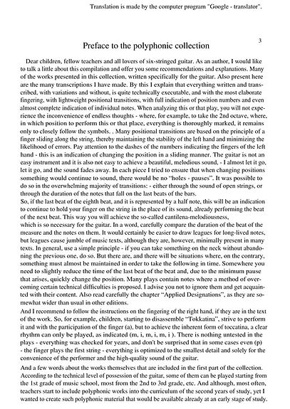 Preface and description of the collection of polyphonic music for the guitar. page 3.Vorwort und Beschreibung der Sammlung polyphoner Musik für die Gitarre. Seite 3.Prefácio e descrição da coleção de músicas polifônicas para violão. página 3.Prefacio y descripción de la colección de música polifónica para guitarra. página 3.Prefazione e descrizione della collezione di musica polifonica per chitarra. pagina 3.Réamhrá agus tuairisc ar bhailiúchán an cheoil pholafónaigh don ghiotár. lch 3.Forord og beskrivelse af samlingen af polyfonisk musik til guitar. side 3.Préface et description de la collection de musiques polyphoniques pour guitare. page 3.Förord och beskrivning av samlingen av polyfonisk musik för gitarren. sida 3.Předmluva a popis sbírky polyfonické hudby pro kytaru. strana 3.Предговор и описание на колекцията от полифонична музика за китара. страница 3.A gitárhoz tartozó polifonikus zene gyűjteményének bevezetése és leírása. 3. oldal.Gitar için polifonik müzik koleksiyonunun