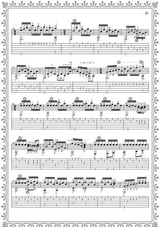 """Fortsetzung der Noten und Gitarrentabulatur des Stückes """"Naughty Doll"""". Seite 25. Komponist Valery Dzyabenko."""