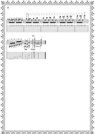 """Fertigstellung von Noten und Gitarrentabulatur für das Stück """"Naughty Doll"""". Seite 26. Komponist Valery Dzyabenko."""