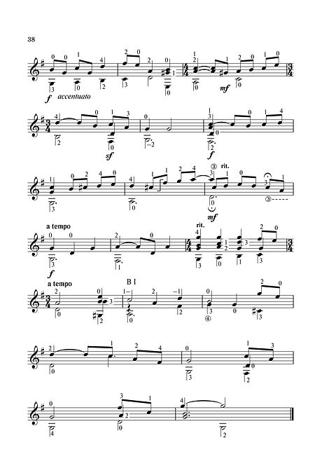 Sheet music. Composer V. Dzyabenko. French dance for guitar. Page 38. Continuation.
