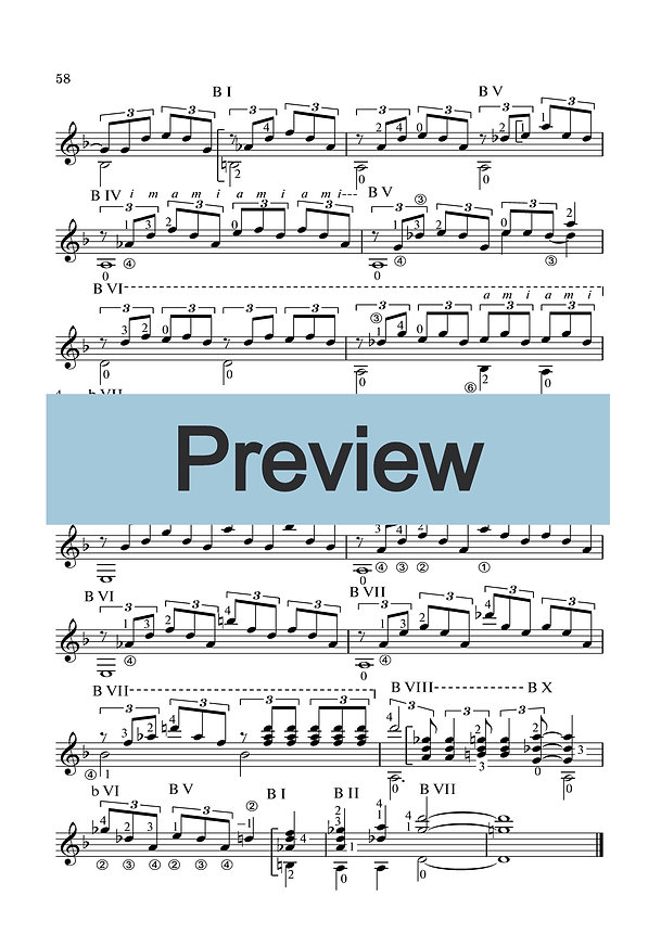 Sheet music instrumental composition for guitar in D minor. Page  2