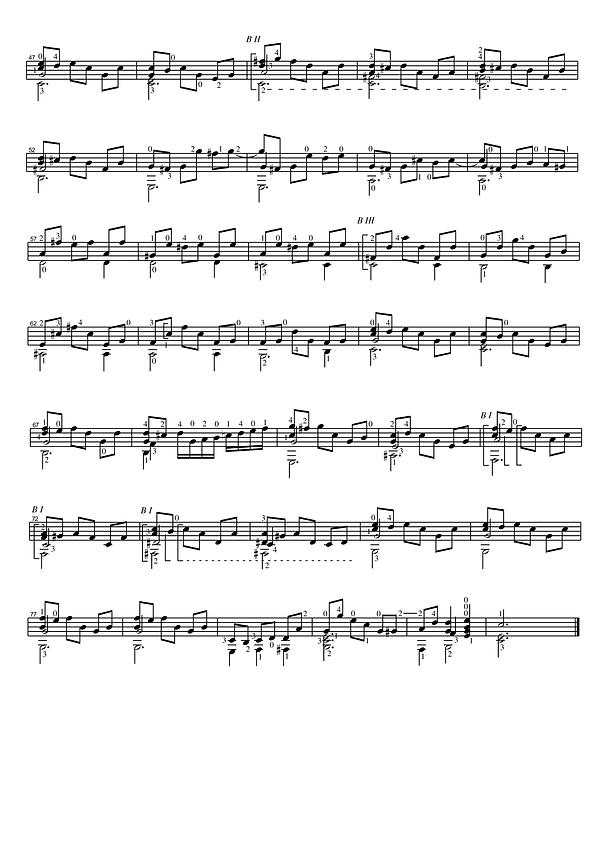 Ноты без табулатуры прелюдии до мажор для классической гитары. 6 страница.