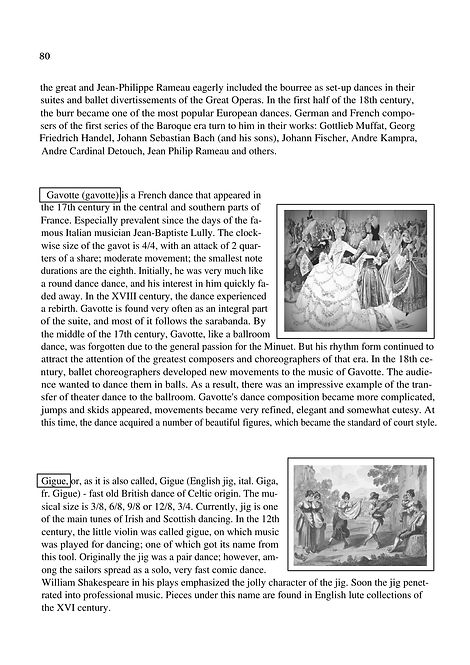 History of music genres. Gavotte and Gigue   .Dance Suites. Description.page 80