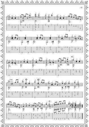 """Fortsetzung der Noten- und Gitarrentabulatur des Stückes """"Country Waltz"""". Seite 17. Komponist Valery Dzyabenko."""