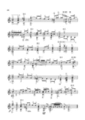 Arrangement score for Sarabande guitar in A minor from the suite by I.S.Bach - continued. page 60