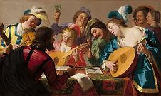 Картинка с изображением музыкантов, играющих на лютнях.