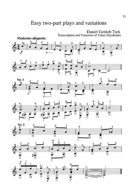 Sheetmusic.Composer D.G. Turk.Easy polyphonic piece for guitar and variation. page 11.Noten. Einfaches polyphones Stück für Gitarre und Variation. Seite 11.Partitura. Peça polifônica fácil para guitarra e variação. página 11.Partitura. Pieza polifónica fácil para guitarra y variación. página 11.Sheetmusic. Píosa polafónach éasca don ghiotár agus don athrú. lch 11.Nodeblad. Let polyfonisk stykke til guitar og variation. side 11.Partition. Pièce polyphonique facile pour guitare et variation. page 11. Lätt polyfoniskt stycke för gitarr och variation. sida 11.Noty. Snadná polyfonická skladba pro kytaru a variace. strana 11.シートミュージック。 ギターとバリエーションのための簡単なポリフォニック作品。 11ページ。Nota. Gitar ve varyasyon için kolay polifonik parça. sayfa 11.Muzyka arkuszowa. Łatwy utwór polifoniczny na gitarę i wariację. strona 11.Kotta. Könnyű többszólamú darab gitárhoz és variációhoz. 11. oldal.Лесно полифонично парче за китара и вариация. страница 11.Εύκολο πολυφωνικό κομμάτι για κιθάρα και παραλλαγές. σελίδα 11.Sp
