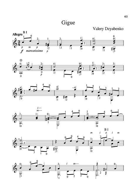 Sheet music. Composer V. Dzyabenko. Gigue in A Minor for Classical Guitar. Page 63.Noten. Komponist V. Dzyabenko. Gigue in a-Moll für klassische Gitarre. Seite 63.Partituras, compositor V. Dzyabenko. Gigue em um menor para guitarra clássica. P. 63.Spartito Compositore V. Dzyabenko. Gigue in A Minor for Guitar classica. Pagina 63.Bileog cheoil. Cumadóir V. Dzyabenko. Gigue in A Minor for Giotár Clasaiceach. Leathanach 63.Noder Komponist V. Dzyabenko. Gigue in A Minor for Classical Guitar. Side 63.Partition Compositeur V. Dzyabenko. Gigue en la mineur pour guitare classique. Page 63.Partituuri, säveltäjä V. Dzyabenko. Klassisen kitaran kitara. Sivu 63.Noty, skladatel V. Dzyabenko. Gigue in Minor pro klasickou kytaru. Strana 63.翻訳:作曲家V.ジャベンコ。 クラシックギターのためのマイナーのギグ。 63ページ乐谱,作曲家V. Dzyabenko。 Gigue在《古典吉他的未成年人》中。 第63页。Ноти. Композиторът В. Дзябенко. Джигуе в минор за класическа китара. Страница 63.Muzik lembaran komposer V. Dzyabenko. Gigue dalam A Minor untuk Gitar Klasik. Halaman 63.