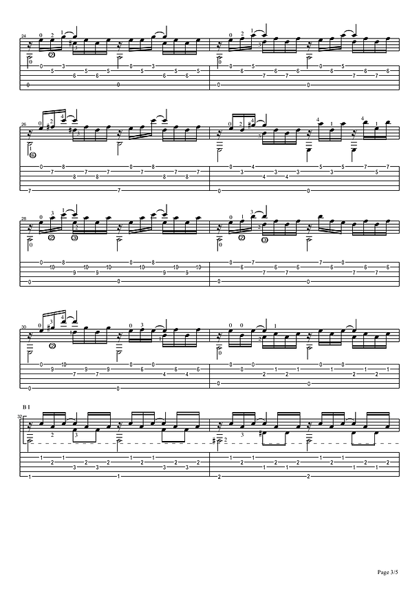 Sheet music and tablature prelude in A minor for classical guitar. 3 page.