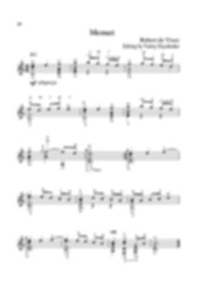Arrangement score for minuet guitar in C major from the suite of Robert de Wiese.  page 40