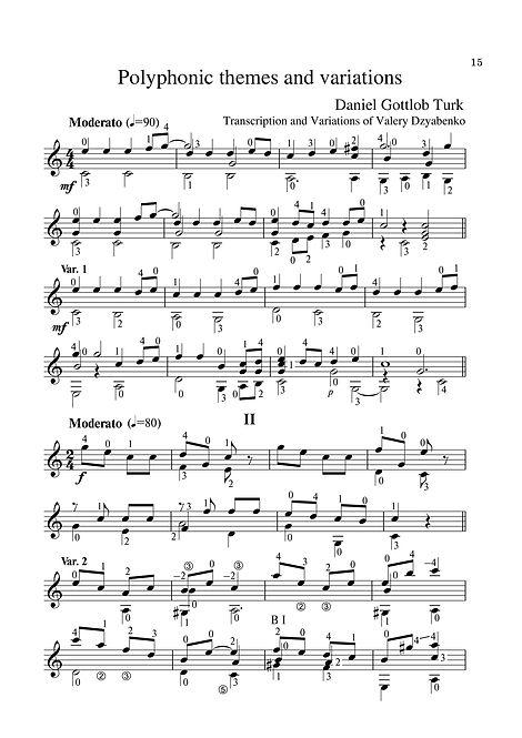 Sheetmusic. Composer D.G. Turk. Polyphonic theme and variations. Arrangement for guitar. page 15.Noten. Komponist D. G. Turk. Polyphonisches Thema und Variationen. Arrangement für Gitarre. Seite 15.Partitura. Compositor D.G. Turk. Tema polifônico e variações. Arranjo para guitarra. página 15.Partitura. Compositor D.G. Turk. Tema polifónico y variaciones. Arreglo para guitarra. página 15.Sheetmusic. Cumadóir D.G. Turk. Téama polafónach agus athruithe. Socrú don ghiotár. lch 15.Partition. Compositeur D.G. Turk. Thème polyphonique et variations. Arrangement pour guitare. page 15.Spartito. Compositore D.G. Turk. Tema polifonico e variazioni. Arrangiamento per chitarra. pagina 15.Sheetmusic. Kompositör D.G. Turk, polyfoniskt tema och variationer. Arrangemang för gitarr. sida 15.Kotta. Zeneszerző D. Turk. Polifonikus téma és variációk. 15. oldal.Nota. Besteci D.G. Türk Polifonik teması ve varyasyonları Gitar düzenleme. sayfa 15.Sheetmusic. Композитор Д. Г. Тюрк. Полифонична тема и вариации.