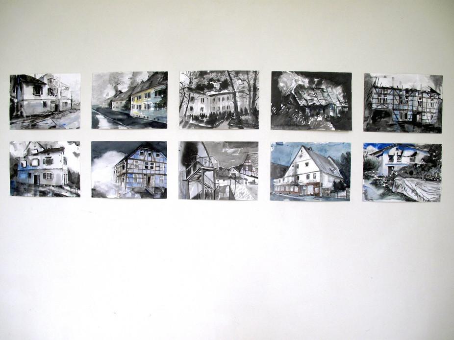 """Hängung in der Ausstellung """"Feinkost"""" in der Villa de Bank in Enschede / Niederlande die Serie ist im Besitz einer privaten Sammlerin"""