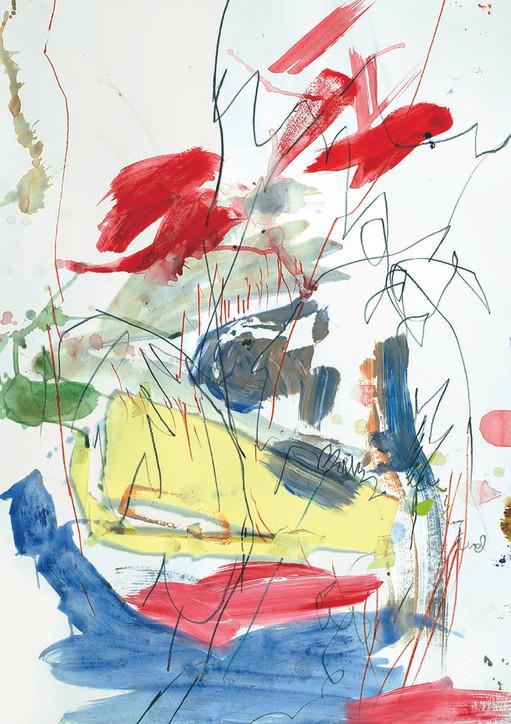 Acryl und Buntstift auf Papier / acrylic and crayon on paper / 50 x 40 cm