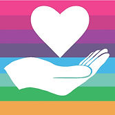 Begin image. A circle filled with our rainbow stripe pattern. Inside is a white hand, palm up, with a white heart floating above it. End image.
