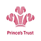 Begin image. A red fleur-de-lis pattern with detailed feathers. Underneath that, 'Princes Trust' is written in clear red letters. End image.