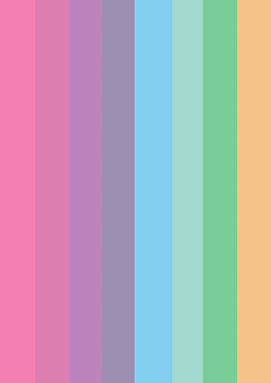 Begin image. Our rainbow, eight colours running a gradient from pink to purple to blue to green to orange. End image.