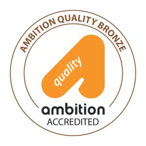 Begin image. A bronze right angled-triangle with a cut-out bit at the bottom and 'quality' written in white text inside it. Around this is a thin purple loop. The bottom is cut out for the words 'Ambition Accredited' in black bubble font. Across the top of the loop, 'Ambition Quality Bronze' is written in clear purple letters. End image.