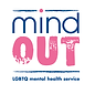 Begin image. In between two thin blue lines, Mind is written above Out. Mind is in simple dark blue letters, although the I is dotted in pink that interrupts the upper line. Out, meanwhile, is in all-caps pink impact font, stylised to appear as though it has been stamped in ink. Beneath the lower line, LGBTQ mental health services is written in compact blue font. End image.