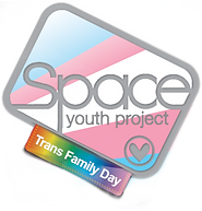 Begin image. A modified version of the Space Youth Project Logo. The outline of the large rounded rectangle is a silvery grey, as is the text 'Space Youth Project' and the heart-in-a-circle in the lower corner. The background is the baby pink, baby blue, white, baby blue, baby pink stripes of the trans pride flag, arranged so it resembles stylised sun rays. The tag is a gradient rainbow, with 'Trans Family Day' written on it in white letters. End image.