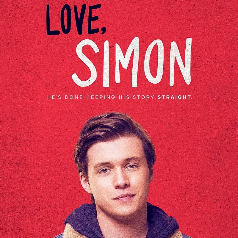 "Begin image. A young man with brown hair pushed back is smiling at the camera. He is wearing a navy hoodie with a jacket over the top. He is in front of a textured red background and above his reads ""Love, Simon. He's done keeping his story straight."" End image."