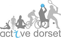 Begin image. A line of people in alternating dark and light grey, increasing in size from left to right. They are doing sports: gymnastics, football, yoga, cycling, wheelchair basketball, and squash. The balls are coloured light blue. Underneath this are the words 'Active Dorset' in simple grey text. The 'i' is light blue, and stylised to resemble a person jumping. End image.