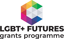 Begin image. A cube shape made up of various coloured triangles. The outer triangles are in rainbow colours, the inner triangles are greyscale. Underneath this is 'LBGT+ Futures', and under that, 'grants programme'. End image.