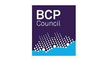 Begin image. A dark blue square. At the bottom is a light blue segment, shaped like the Dorset coastline. At the top is 'BCP council' in white letters, and there is a pointillism silhouette of Poole, Bournemouth, and Christchurch, which larger dots indicating the town centres. End image.