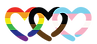 3 interlocking hearts. 1 is rainbow, 1 is pink & blue (trans flag) the middle one is black & brown