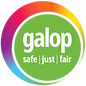 Begin image. A green circle, outlined three quarters of the way with a gradient-rainbow crescent. In the circle is white text, reading 'Galop - safe, just, fair'. End image.