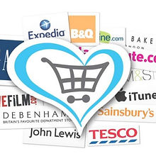 Begin image. A blue heart outline with a grey shopping trolley drawing in the centre, laying on a background of various shop logos. End image.