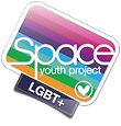 A white-bordered rounded rectangle filled with rainbow stripes in eight colours: pink, darker pink, purple, indigo, cyan, mint green, grass green, and orange. 'Space Youth Project' is written in the box in sans-serif font. In the bottom right-hand corner is a heart in a circle. At the bottom, a smaller box with a denim texture and orange stitching has 'LGBT+' written on it, also in sans-serif font.