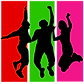 Red, green and pink vertical stripes. Black silhouettes of teenagers jumping