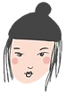 A doodle of a person with long black hair and a black beanie hat