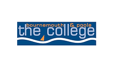 Begin image. A dark blue box with a white wavy line along the bottom. At the very top, 'bournemouth and poole' is written in orange lowercase letters, and underneath, 'the college' in light blue. The font is sans-serif and square. In the space between 'the' and 'college', there is an orange triangle, as if to suggest that 'bournemouth and poole' has been added afterwards. End image.