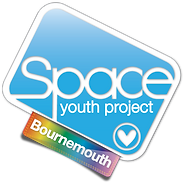 Begin image. Bournemouth Group Logo: similar to the SYP logo, but with a plain, pale blue background, and the tag is rainbow gradient. End image.