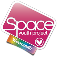 Begin image. Weymouth Group Logo: similar to the SYP logo, but with a plain, dark pink/light plum background, and the tag is rainbow gradient. End image.