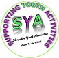 """A green circle around the words """"Supporting Youth Activities"""" in purple and green. """"SYA"""" centred"""