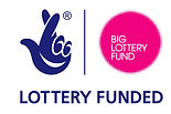 Begin image. The Lottery Logo, a dark blue hand with crossed index and middle fingers. The ring and little finger form the eyes of a smiley face, with the mouth formed by one of the palm lines. Next to this is a pink circle with 'Big Lottery Fund' written in white letters inside it. Beneath these two logs, it reads 'Lottery Funded'. End image.