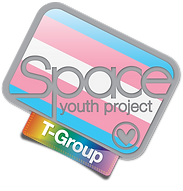 Begin image. Space T-Group logo: similar to the SYP logo, but the white border, heart, and text is light grey. The background is the trans pride flag - baby blue, baby pink, white, baby pink, and baby blue stripes - and the tag is rainbow gradient. End image.