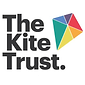 """A kite made of 6 triangles in red, orange, yellow, green, blue & indigo. """"The Kite Trust"""" in black"""