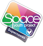 Begin image. Supernova logo: similar to the SYP logo, but the background is a wheel of multicolour segments rather than stripes. End image.