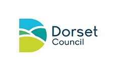 Begin image. A capital 'D' shape, filled with a stylised image of rolling hills beneath a clear blue sky. Next to this, 'Dorset Council' is written. End image.