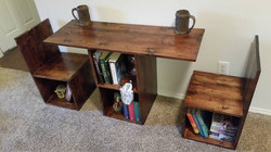 Bookcase Table Pulled out chairs