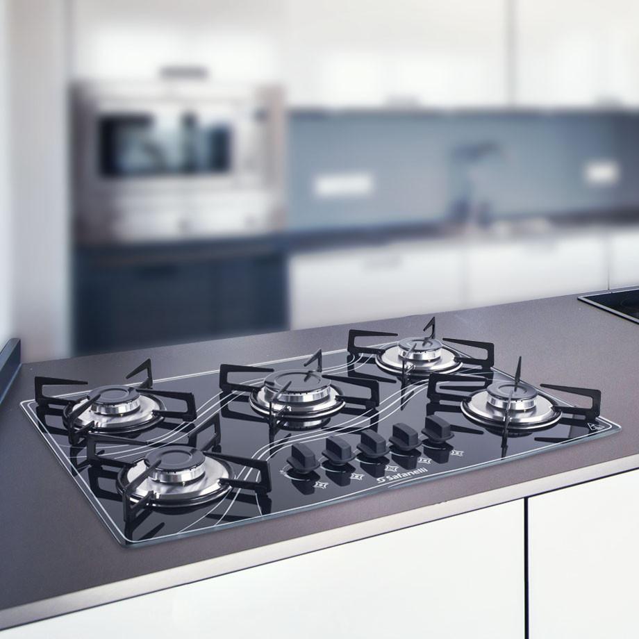 Fogão cooktop vidro preto Safanelli