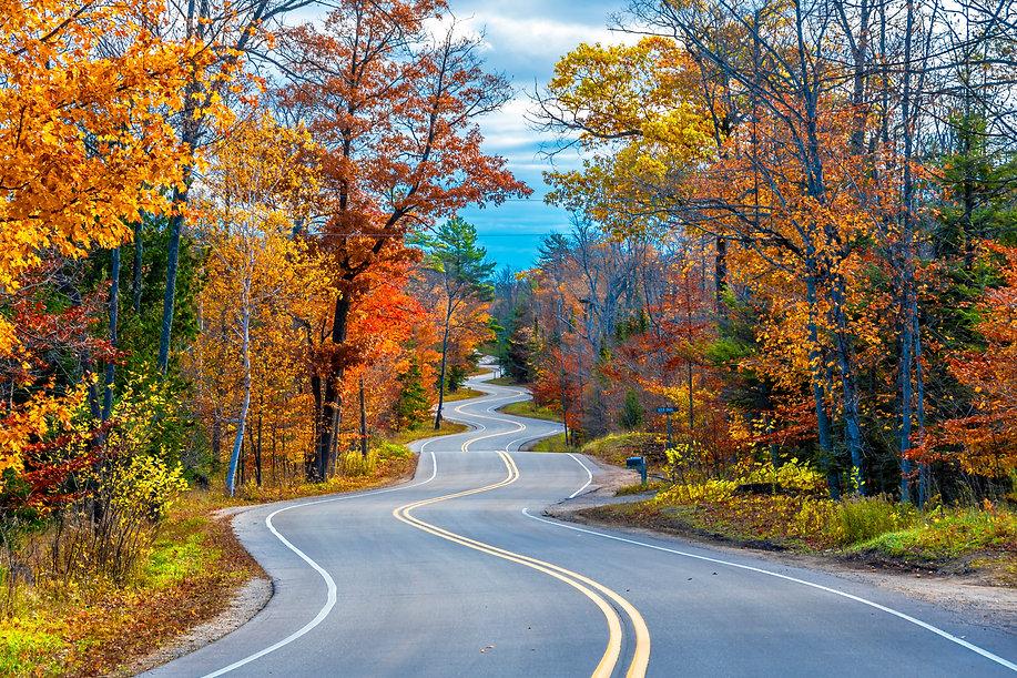 Winding Road at Autumn in Door County of